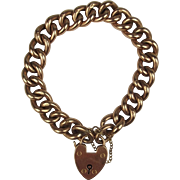 Circa 1900 9ct Rose Gold Bracelet With Heart Padlock