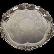 Victorian 1855 Elkington Compact Silver Plate Salver