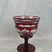 Large Bohemian Flash Overlaid Ruby Glass Goblet Vase