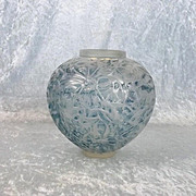 Lalique Gui Opalescent Glass Vase With Blue Staining No. 948 C1930