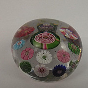 Clichy Millefiori Pink & Green Rose Cane Glass Paperweight