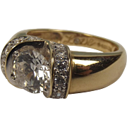 14ct Yellow Gold Cubic Zirconia Ring UK Size M+ US 6 ½
