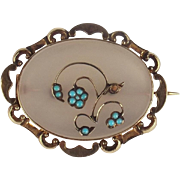 Victorian 9ct Yellow Gold Moonstone & Turquoise Brooch