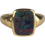9ct Yellow Gold Opal Ring UK Size M US 6
