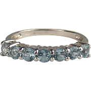 9ct White Gold 7 Stone Sky Blue Topaz Ring UK Size N+ US 6 ¾
