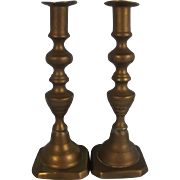 Small Pair Of 19th Century Brass Ejector Candlestick #5