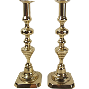 19th Century Brass Ejector Candlestick Pair #4