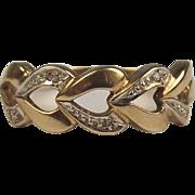 9ct Yellow Gold Diamond Love Heart Ring UK Size N US 6 ¾