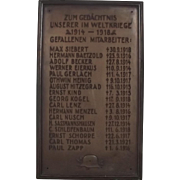 German World War 1 War Memorial Plaque