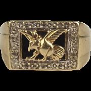 Gents 9ct Yellow Gold Diamond & Onyx Ring UK Size T US 9 ¾