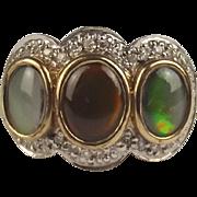 9ct Yellow Gold Opal & Diamond Ring UK Size M US 6 ¼