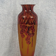 Circa 1930 Le Verre Francais Groseilles Pattern Cameo Glass Vase
