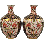 1908 Pair Of Small Royal Crown Derby Imari Pattern Porcelain Bottle Vases