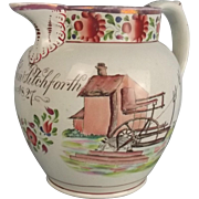 English 1827 Ceramic & Decorated Lustre Jug – Named John Pitchforth