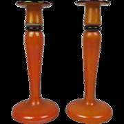 Pair Of Early 20th Century Bohemian Tango Glass Candlesticks