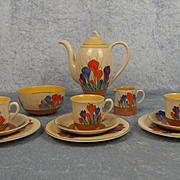Circa 1930's Clarice Cliff Autumn Crocus Pattern 12 Piece Coffee Service