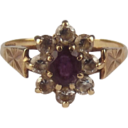 9ct Yellow Gold Amethyst & Zirconia Flower Head Ring UK Size M US 6 ¼