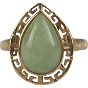 9ct Yellow Gold Jadeite Ring UK Size O+ US 7 ½