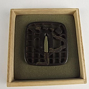 Edo Period Square Form Iron Tsuba With Gold Inlay