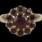 1960 9ct Yellow Gold Garnet Cluster Ring UK Size K+ US 5 ½
