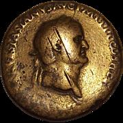 Extremely Rare Roman Empire Year 70 AD Emperor Vespasian Serstetius Coin