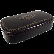 A Victorian Paper Mache Inlaid Snuff Box