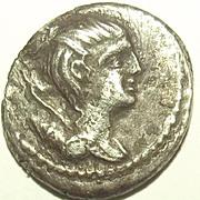 74 BC Roman Republic C. Postumius AR Denarius Coin