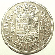 1751 Spanish Ferdinand VIth One Real Colonial Silver Coin