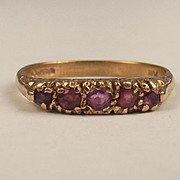 1961 9ct Yellow Gold 5 Stone Ruby Ring UK Size R+ US 9