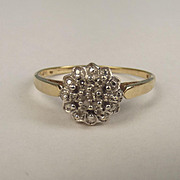 9ct Yellow Gold Diamond Cluster Ring UK Size Z US 12 ½