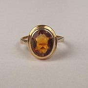 1972 9ct Yellow Gold Citrine Ring UK Size J US 4 ¾