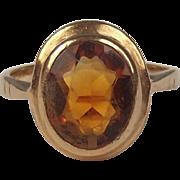 1972 9ct Yellow Gold Citrine Ring UK Size J US 4 ¾