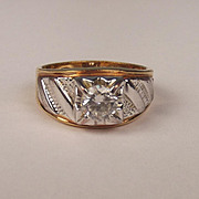 9ct Yellow & White Gold Cubic Zirconia Ring UK Size X US 11 ½