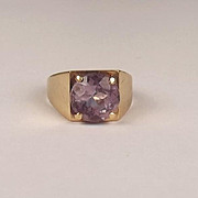 1975 9ct Yellow Gold Amethyst Ring UK Size P US 7 ¾
