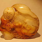 Ching Period Chinese Jade Figurine Of A Drummer Boy
