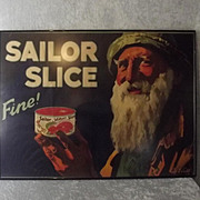 Framed Original Advertising Poster For Sailor Slice Salmon By Septimus E. Scott c1920's