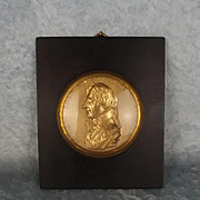 19th Century Circular Gilt Metal Portrait Relief Of Admiral Lord Nelson