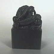 Ching Period Horned Dragon Nephrite Jade Seal