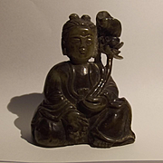 Chinese Ching Period Or Earlier Jade Guanyin Statue