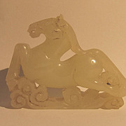 Chinese Ching Period Or Earlier Jade Nephrite Galloping Horse Sculpture