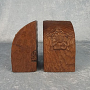 Mid 20th Century Pair Of Gnomeman Oak Bookends By Thomas Whittaker