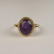 1971 9ct Yellow Gold Amethyst Ring UK Size J+ US 5