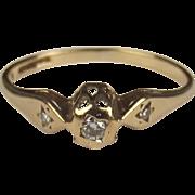 1987 9ct Yellow Gold Diamond Ring UK Size K US 5 ¼