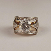 9ct Yellow Gold Cubic Zirconia Cluster Ring UK Size N US 6 ¾