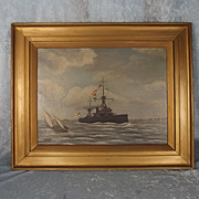 Framed Oil On Canvas Of HMS Dreadnought By L. Miles
