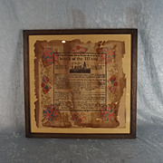 Framed Memorial Wreck Of The Titanic Napkin