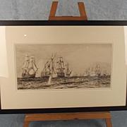 The Battle Of Trafalgar William L. Wyllie RA (1851-1931) Signed Etching