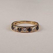 1985 9ct Yellow Gold Sapphire & Cubic Zirconia Ring UK Size M US 6 ¼