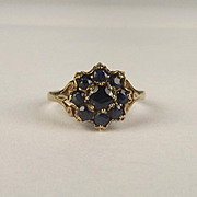 1981 9ct Yellow Gold Sapphire Flower Head Ring UK Size N US 6 ¾