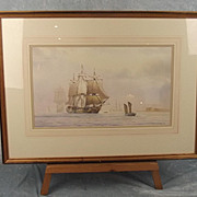 Watercolour Of HMS Agamemnon Leaving Portsmouth – Derek C Bell - 1996 Dated